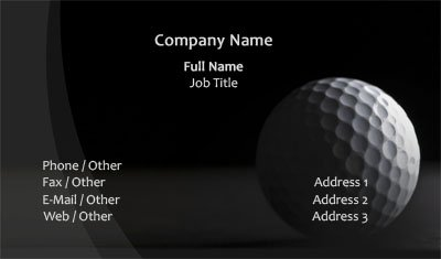 Black and White Golf Business Card Template